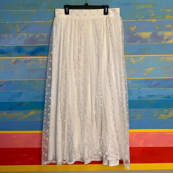 Torrid Ivory Lace & Polka Dot Maxi Skirt Wedding